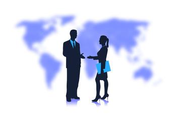 handshake of businessmen against the planet
