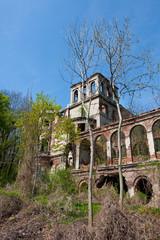 Facade of a ruined building, Poland.
