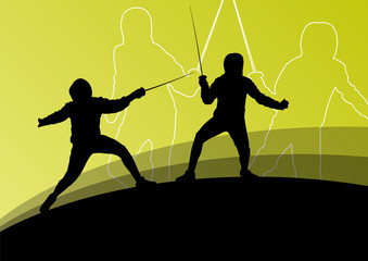 Sword fighters active young men and women fencing sport silhouet