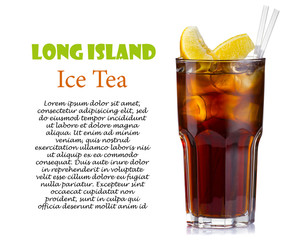 Long island ice tea cocktail isolated on white