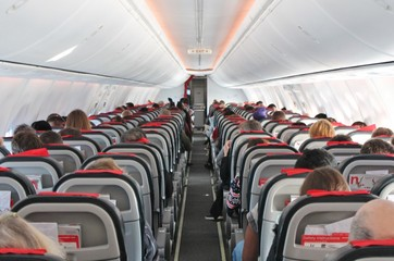 airplane cabin aircraft seats people plane air travel background copy space