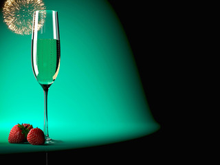 Glass of champagne with strawberry