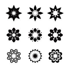Set of black geometric flowers