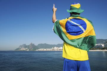 Brazilian in Brazil Colors Wearing Flag Rio Skyline