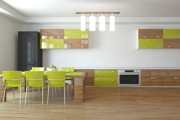 green 3d kitchen