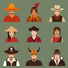 vector different characters pirate, pilot, cowboy, viking,