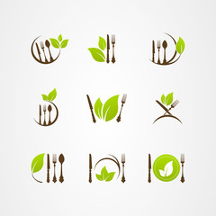 Vector organic food cutlery leaf logo icon