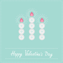 Three candles button blue background  Valentines day  Flat