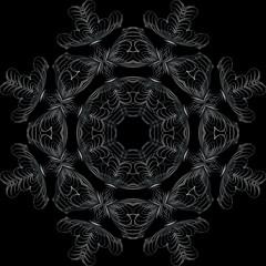 Art Feather White Seamless Symmetric Pattern On Black Background