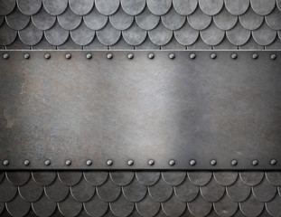 Wall Mural - metal plate over scales armor background