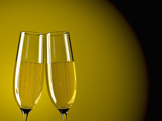 two glass champagne on a  table with colorful background
