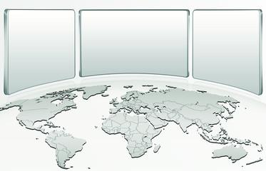 Weltkarte, Globus mit Schilder, Notizen, freigestellt