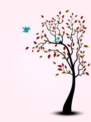 Bird family on the tree