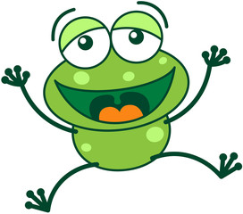 Green frog laughing, jumping and celebrating