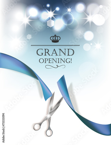 """""""Grand opening background with blue ribbon and silver"""