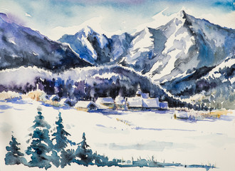 Winter landscape - village covered with snow.Watercolors.