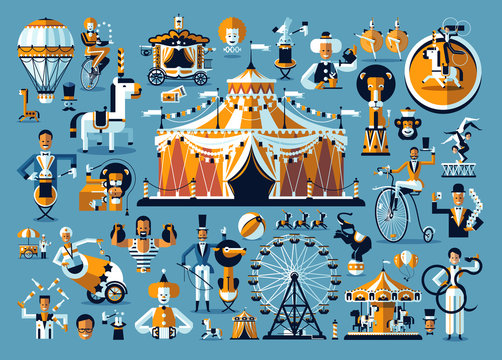 Circus. Colored icons collection