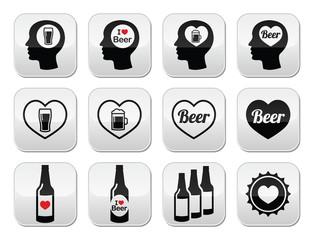 Man loving beer vector buttons set