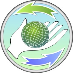 Ecologic circle emblem with a globe on palm