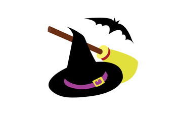 Set of Halloween accessories icon hat, broomstick, shoos