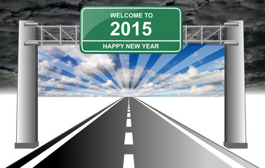 welcome to 2015 happy new year with radiant sky