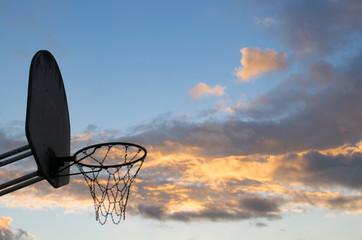 Basketball Hoop on Warm Sunset in Los Angeles