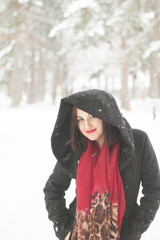 Girl with red scarf and coat