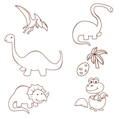 Dinosaur Cute Object Collection Hand Drawn Sketch Doodle