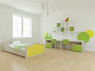 white 3d childrens room