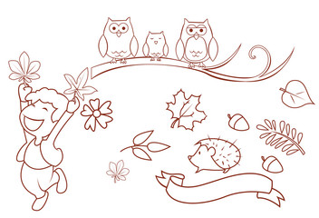 Autumn Season Object Collection Hand Drawn Sketch Doodle