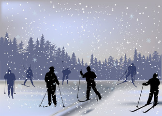skiers under snowfall in forest