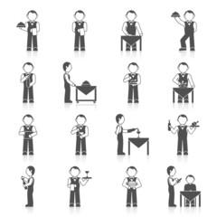 Waiter Man Icon Black