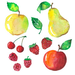 fruit set drawn watercolor blots and stains with a cherry, apple