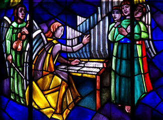 Wall Mural - Angels: singing and making music in stained glass
