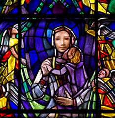 Fototapete - Mother and child (Mary and Jesus) in stained glass