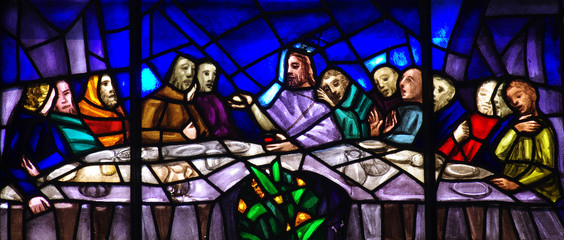 Wall Mural - The Last Supper in stained glass
