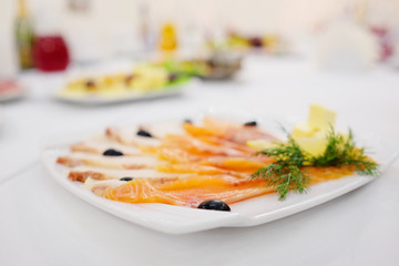 white dish with red fish