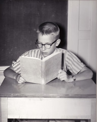 Vintage Photo of Young Boy Reading Book