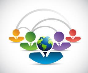 international diverse teamwork connection