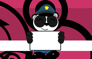 panda bear cop cartoon background card2