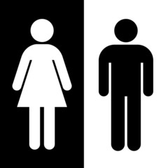 Black and white toilet sign great for any use, Vector EPS10.
