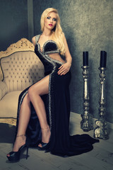 blonde seduction in an elegant black dress