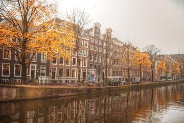 Aluminium Prints Autumn Amsterdam autumn. beautiful places in Europe