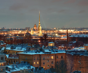 Saint-Petersburg building residential on  background of Peter an
