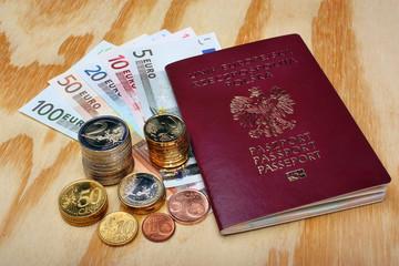 Polish passport and euro money