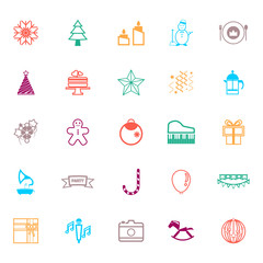 New year and christmas line icons flat color