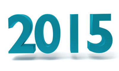 New year 2015 - 3D render on white background