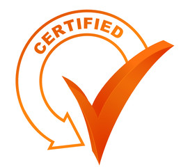 certified symbol validated orange