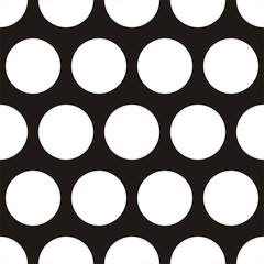 Tile vector pattern big white polka dots on black background - 75395675