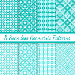 Turquoise and White Geometric Seamless Patterns
